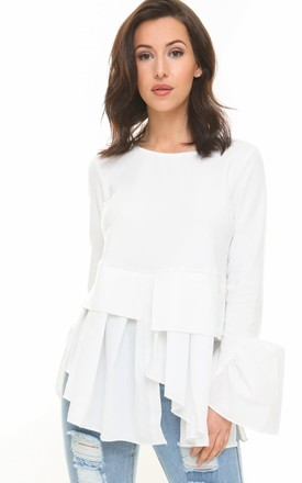 Long Sleeve Jersey Top with Shirt Underlay in White by Urban Mist