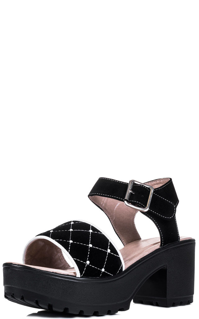SHAKE IT UP Platform Block Heel Sandals Shoes - Black Suede Style by SpyLoveBuy