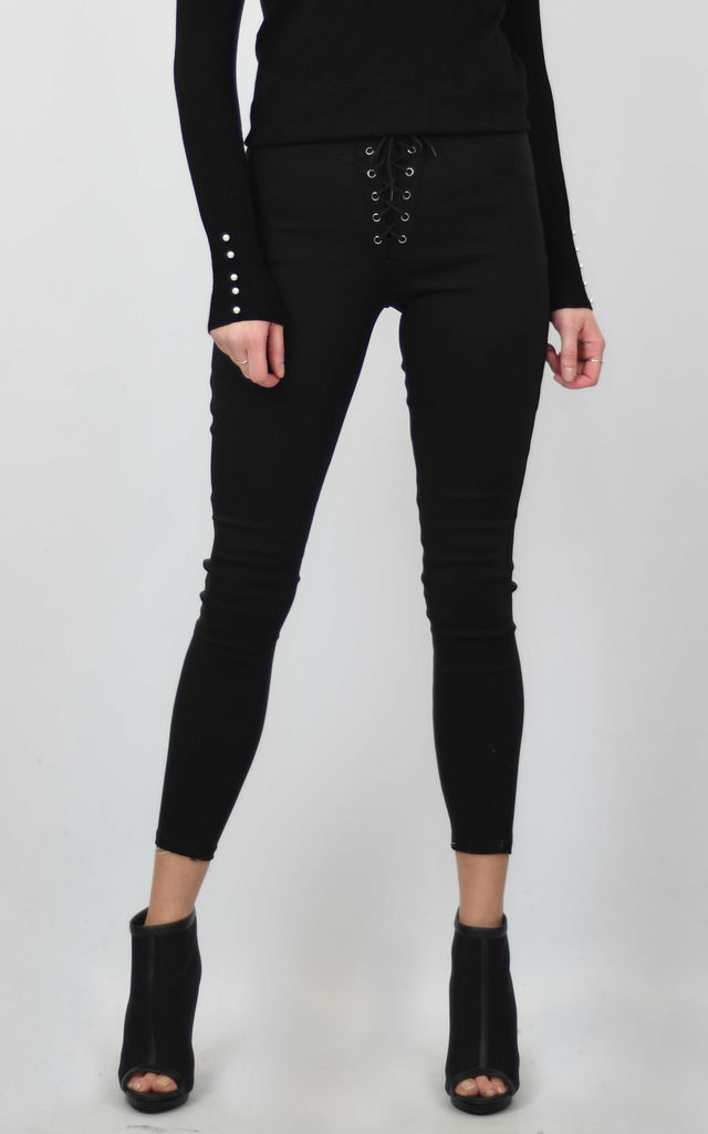 SKINNY JEAN LEGGINGS WITH LACE UP DETAIL in BLACK by Lucy Sparks
