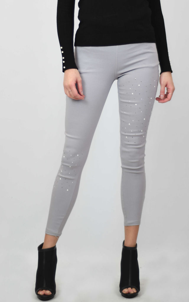 SKINNY JEAN LEGGINGS WITH CRYSTALS in GREY by Lucy Sparks