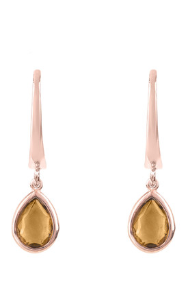 Pisa Mini Teardrop Earring Rose gold Smokey Quartz by Latelita London