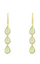 Sorrento Triple Drop Earring Gold Aqua Chalcedony by Latelita London