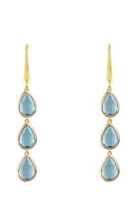 Sorrento Triple Drop Earring Gold Blue Topaz by Latelita London