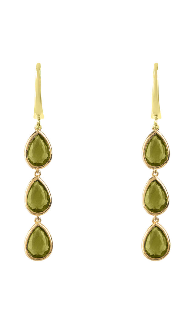 Sorrento Triple Drop Earring Gold Peridot by Latelita London