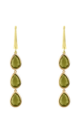 Sorrento Triple Drop Earring Gold Peridot by Latelita Product photo