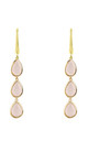 Sorrento Triple Drop Earring Gold Rose Quartz by Latelita London