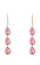 Sorrento Triple Drop Earring Rose gold Pink Tourmaline by Latelita London