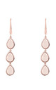 Sorrento Triple Drop Earring Rose gold Rose Quartz by Latelita London
