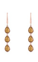 Sorrento Triple Drop Earring Rose gold Smokey Quartz by Latelita London
