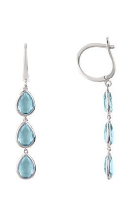 Sorrento Triple Drop Earring Silver Blue Topaz by Latelita London