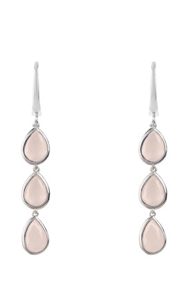 Sorrento Triple Drop Earring Silver Rose Quartz by Latelita London