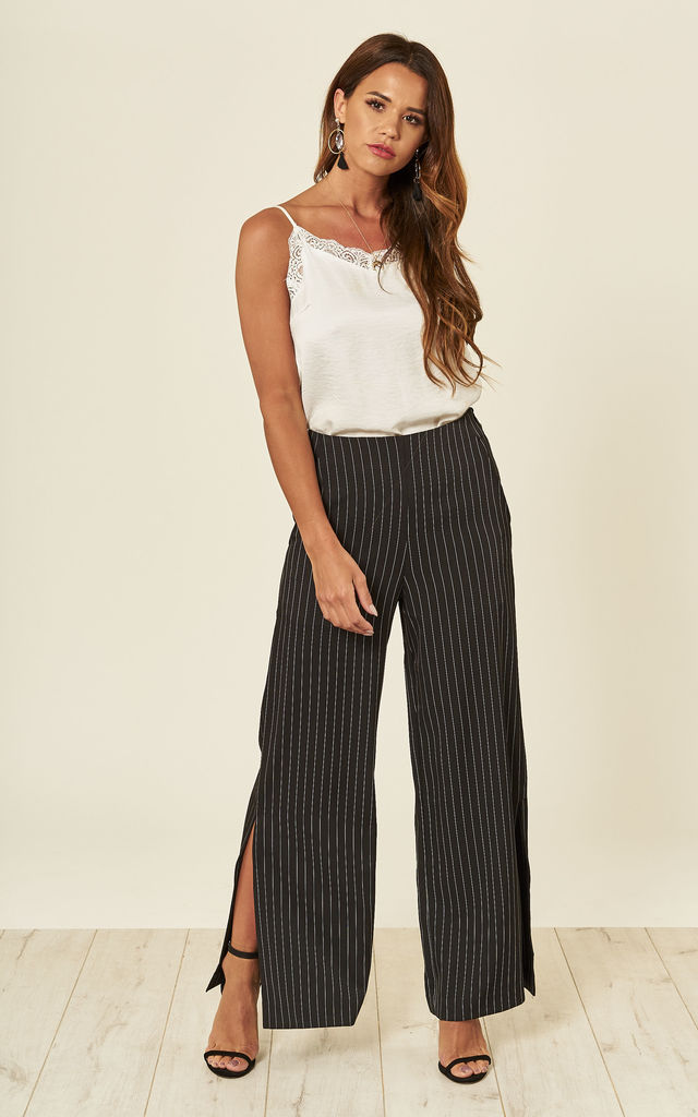 Black Pin Striped Wide Leg Trousers by ANGELEYE