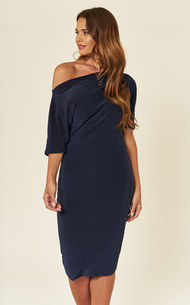 Navy Lily One Shoulder 1/2 Sleeve Midi Dress by Pleat Boutique Product photo