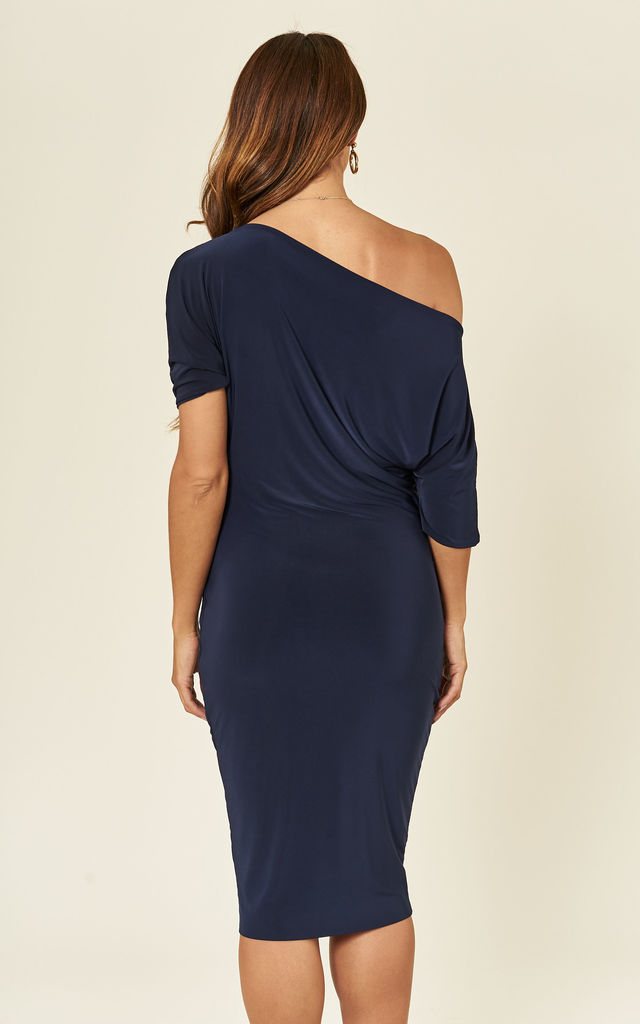 Navy Lily One Shoulder 1/2 Sleeve Midi Dress by Pleat Boutique