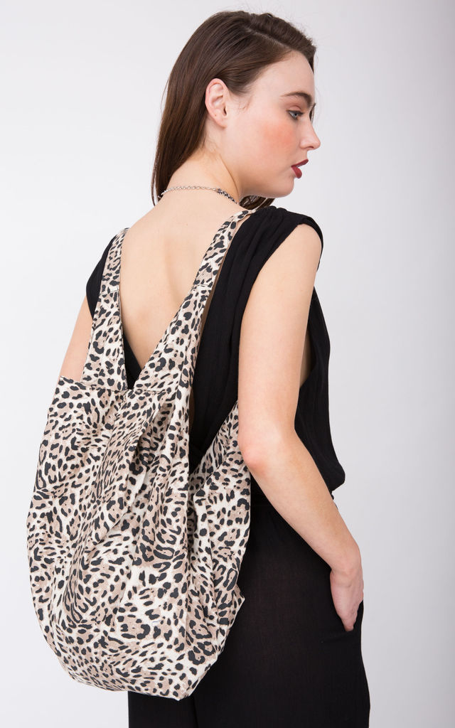 Cotton Cloth Eco 2 in 1 Shoulder Bag & Rucksack Leopard Print by likemary