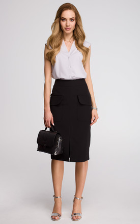 Black pencil skirt with front pocket by MOE