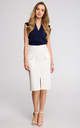 Pencil skirt with front pocket in white by MOE