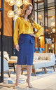 Navyblue pencil skirt with front pocket by MOE