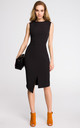 Black sleeveless midi dress with wrap detail by MOE