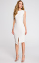 Sleeveless structured midi dress in white by MOE