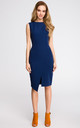 Navy blue sleeveless midi dress with wrap detail by MOE