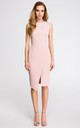 Pink sleeveless midi dress with wrap detail by MOE