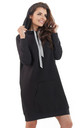 Black loose long top with pocket and hoodie by AWAMA