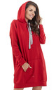 Red loose long top with pocket and hoodie by AWAMA