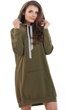 Khaki loose long top with pocket and hoodie by AWAMA
