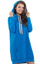 Blue loose long top with pocket and hoodie by AWAMA