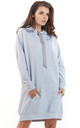 Grey loose long top with pocket and hoodie by AWAMA
