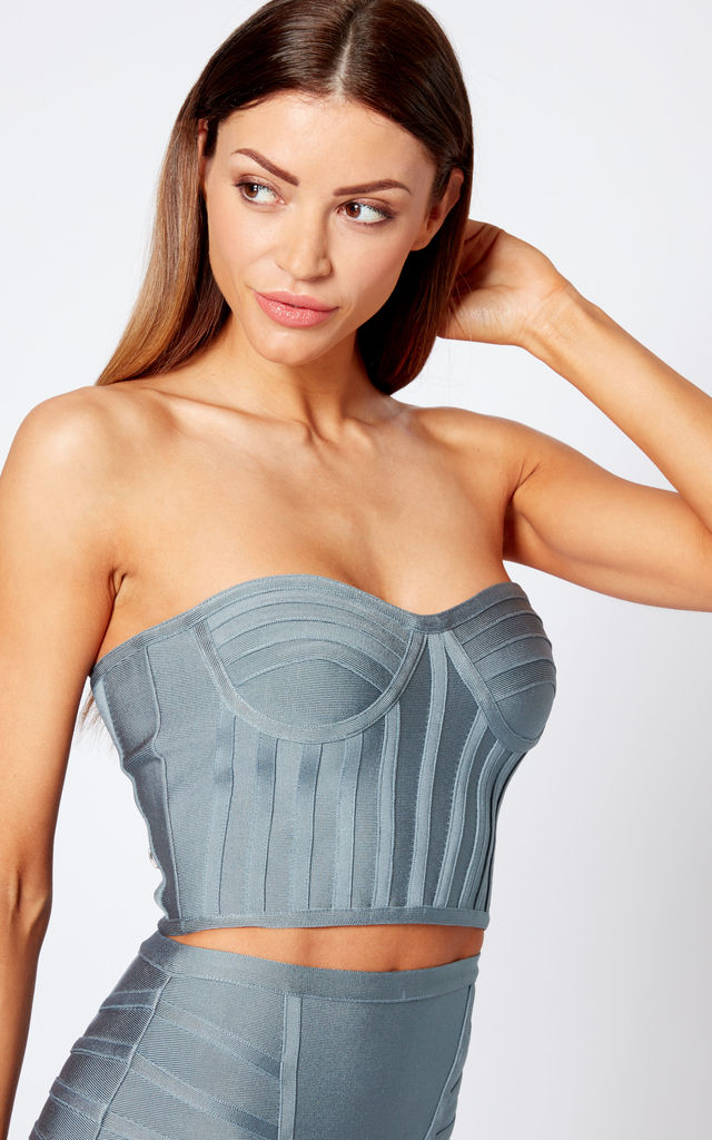 Grey Bandage Bralette Top Co-ord by Club L London