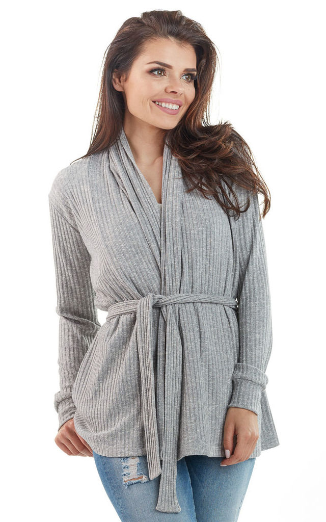 Grey Knitted Wrap Top by AWAMA