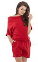 Red Loose Off The Shoulder Playsuit by AWAMA