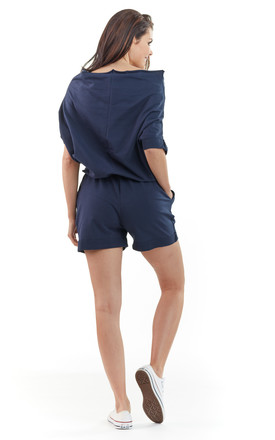 Navy Loose Off The Shoulder Playsuit by AWAMA