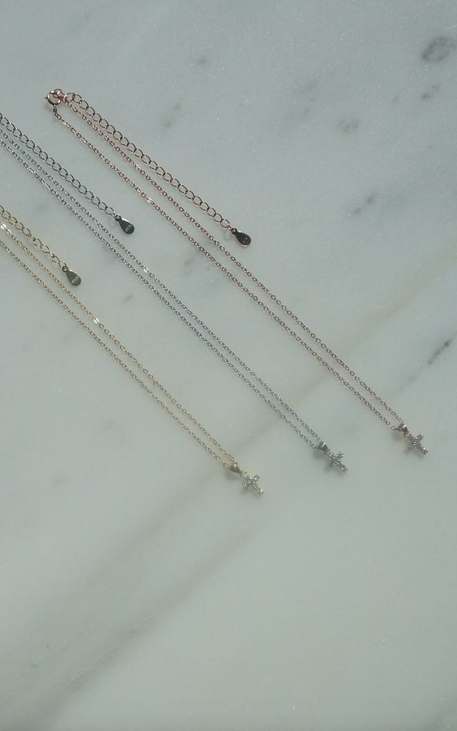 Rose gold short collar chain necklace with cubic zirconia stones by EPITOME JEWELLERY