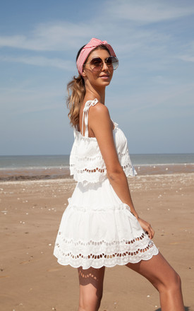White Broderie Anglaise Trim Cami Top & Skirt Co-ord by Styled In London