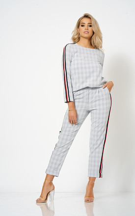 Grey Stripe Detail Checked Co-Ord Box Top by Club L London
