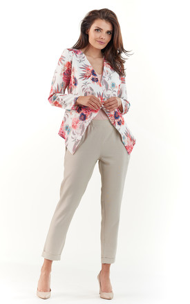 Floral asymmetrical butonless jacket by AWAMA