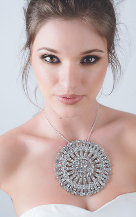 Silver sunburst brooch necklace by Kate Coleman