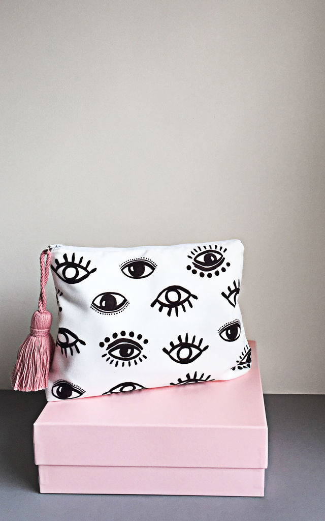 Evil Eye zipper pouch bag by Rianna Phillips
