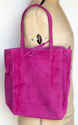 Cerise Suede Tote by Grace and Valour