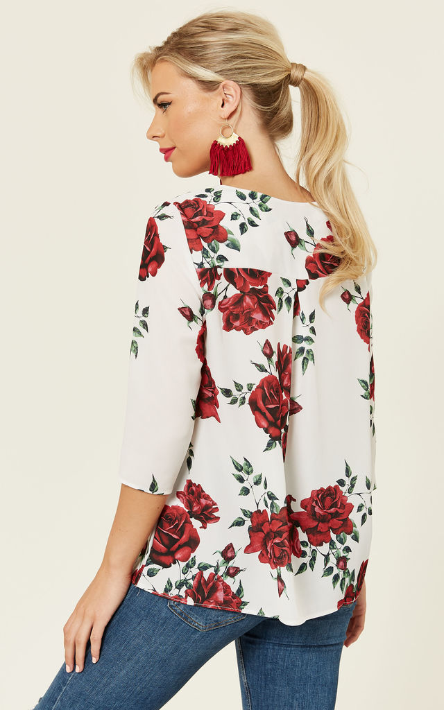 Cream Camilla Rose Print Blouse by Havren