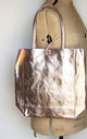 Rose Gold Italian Leather Tote Shopper by Grace and Valour