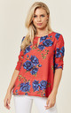 Red Camilla Rose Print Blouse by Havren