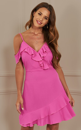 Magenta Off The Shoulder Wrap Dress by Luna Product photo