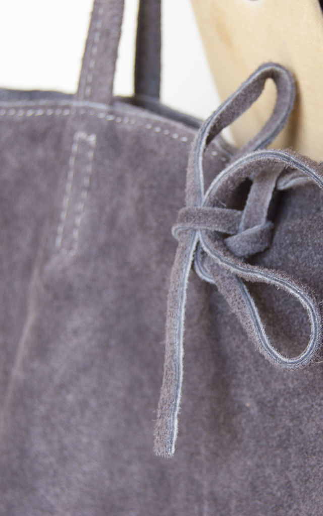Grey Suede Tote Shopper by Grace and Valour