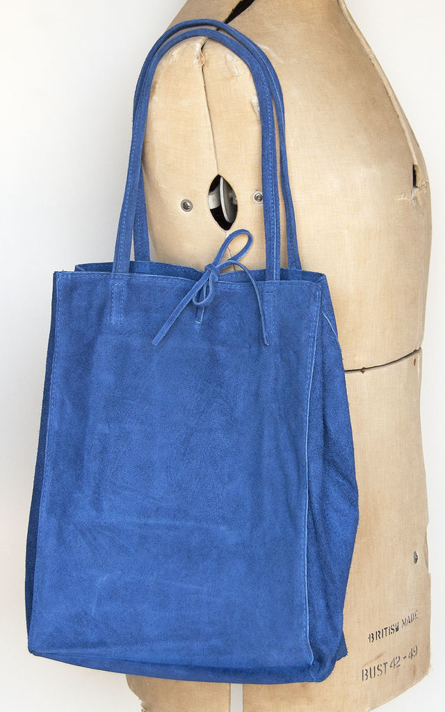 Blue Suede Tote Shopper - Super Soft by Grace and Valour