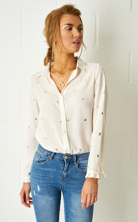 Leonie Bird Print Shirt In Cream by Frontrow Limited