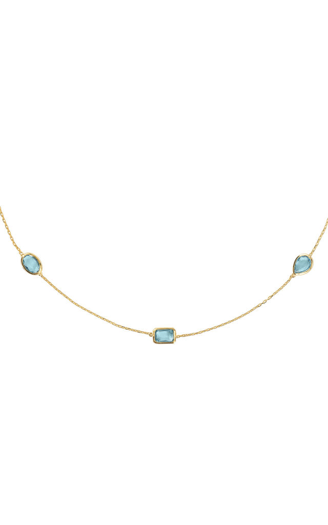 Venice 120cm Long Chain Necklace Gold Blue Topaz by Latelita